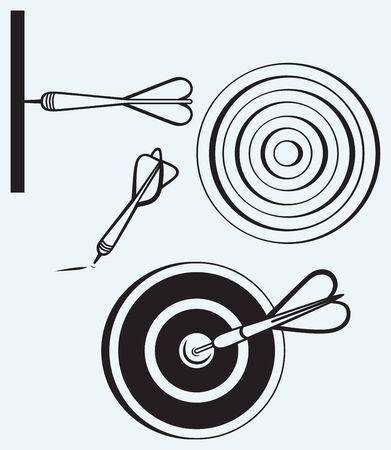 Dart on target isolated on blue background Vector