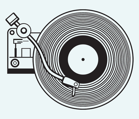 Platenspeler vinylplaat geïsoleerd op blauwe achtergrond Stock Illustratie