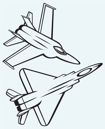 interceptor: Warplane fighter isolated on blue background