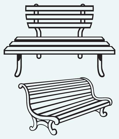 garden design: Panca di legno isolato su sfondo blu Vettoriali