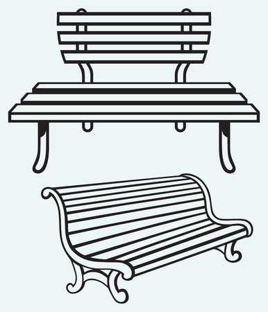 garden furniture: Wooden bench isolated on blue background Illustration