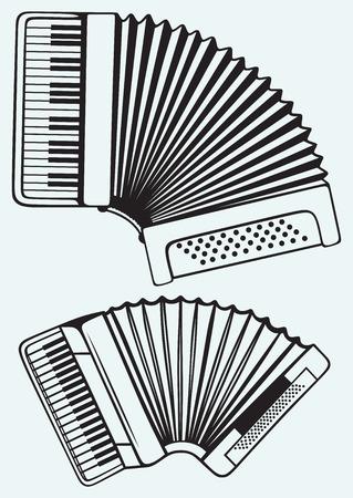 acordeon: Instrumentos musicales del acorde�n aislado en fondo azul Vectores