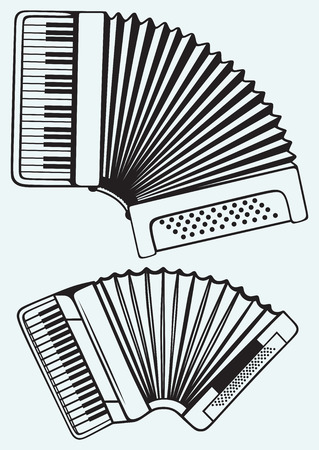 Music instruments  Accordion isolated on blue background Vector