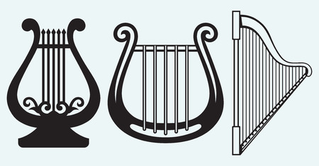Illustration of lyre isolated on blue background Vector