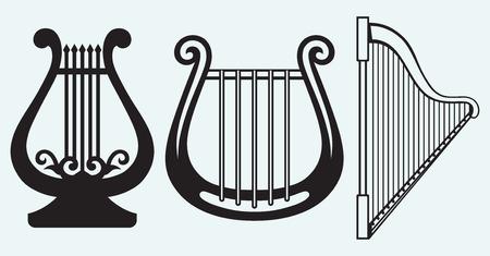 the harp: Ilustración de la lira aisladas sobre fondo azul Vectores