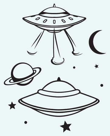 flying saucer: Space flying saucer isolated on blue background Illustration