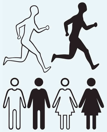 compliant: Man and woman icon  Running man isolated on blue background Illustration