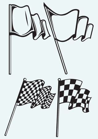 Checkered flags isolated on blue background Vector