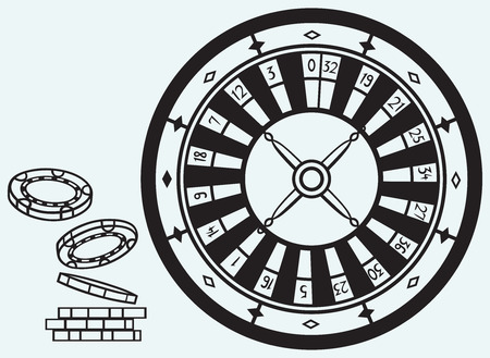 roulette wheel: Gambling  Roulette and chips isolated on blue batskground Illustration