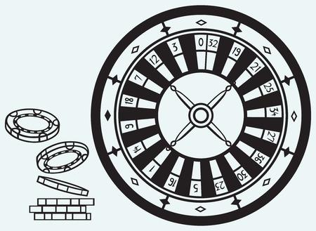 Gokken Roulette en chips geïsoleerd op blauwe batskground Stockfoto - 25944058