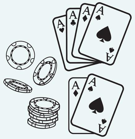 jeu de carte: Cartes de jeu et puces isolés sur batskground bleu Illustration