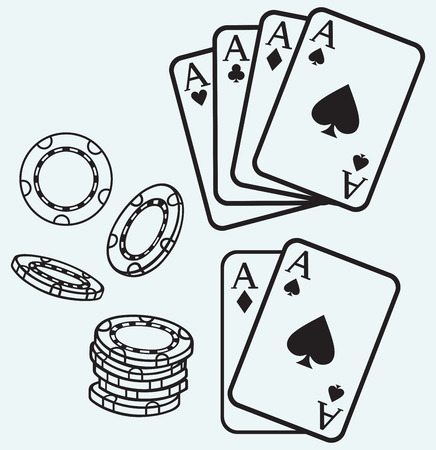 card game: Gambling  Cards and chips isolated on blue batskground