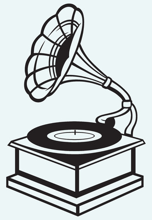 phonograph: Old record player isolated on blue batskground Illustration