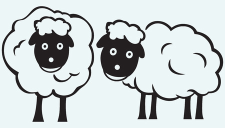 Cartoon sheep isolated on blue batskground Vector