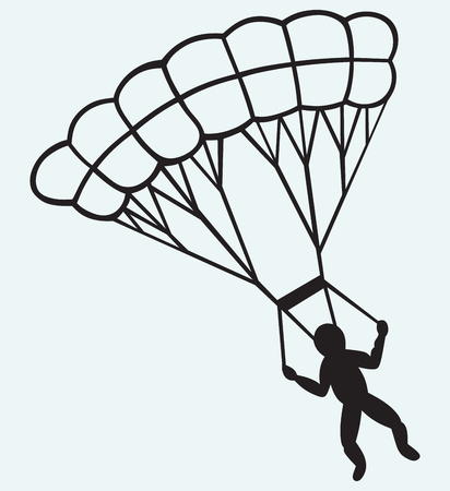 Man jumping with parachute isolated on blue batskground Vector