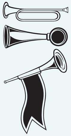 trompeta: Fanfare y el viento instrumento musical aislado en azul batskground