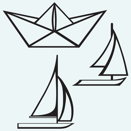 toy boat: Origami paper ship and sailboat sailing isolated on blue batskground