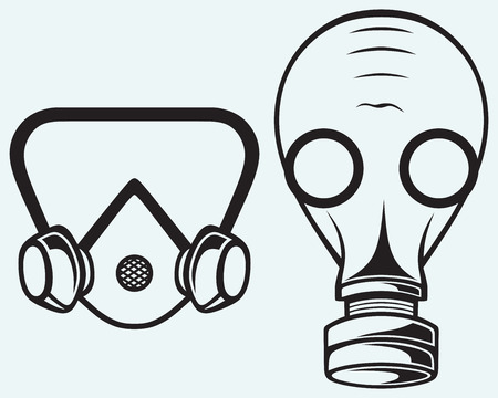 Gas mask isolated on blue batskground Vector