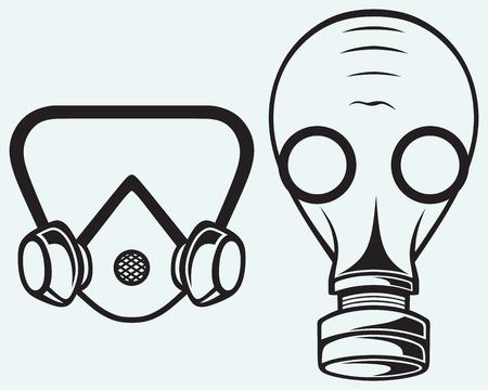mask gas: M�scara de gas aislado en azul batskground Vectores