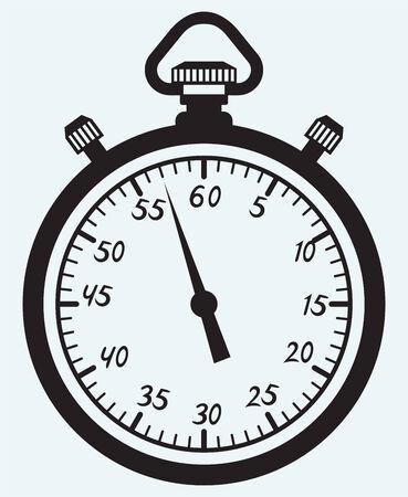 chronometer: Stopwatch icon isolated on blue batskground Illustration