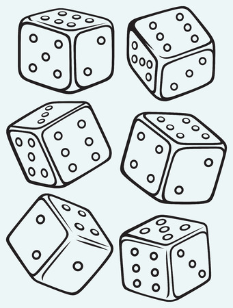 Set dices isolated on blue batskground Vector