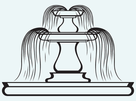 Fountain in the style of renaissance isolated on blue batskground