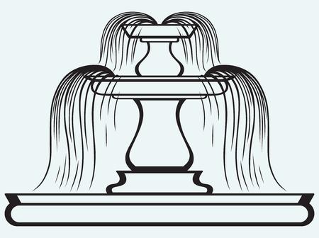 tuinontwerp: Fontein in de stijl van de renaissance die op blauwe batskground