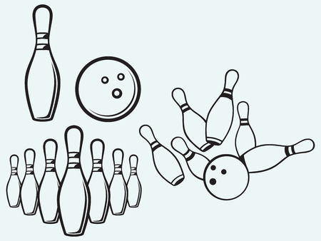 Elements bowling isolated on blue batskground Illustration