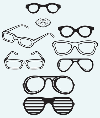 Set glasses and lips silhouettes isolated on blue background Vector