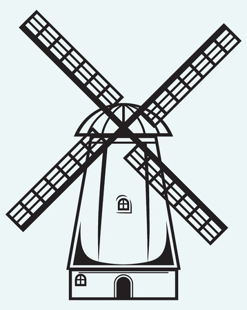 Symbol mill isolated on blue background Vector