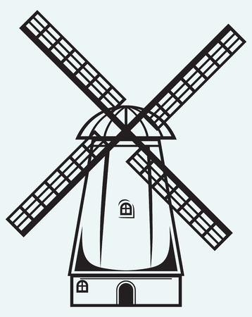 grind: Symbol mill isolated on blue background Illustration