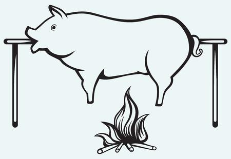 青色の背景で隔離のロースト豚