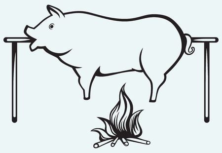 spit: Roasted pig isolated on blue background Illustration