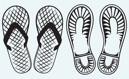 foot ware: Trail boots and Flip Flop isolated on blue background Illustration