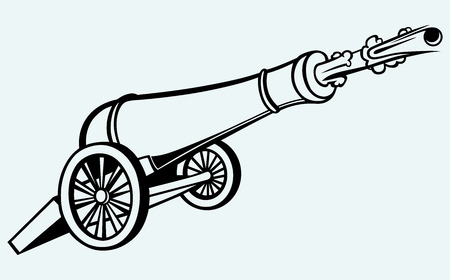 howitzer: Medieval cannon isolated on blue background Illustration