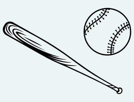 murcielago: El béisbol y el bate de béisbol de imagen aislado en el fondo azul