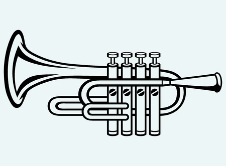 brass wind: Trumpet, musical instrument  Image isolated on blue background Illustration