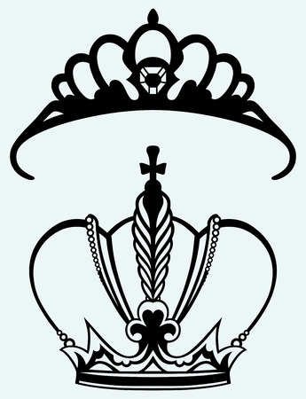 edward: Crown collection isolated on blue background Illustration