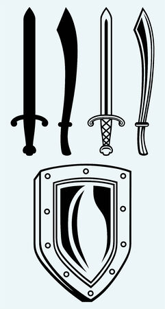 broadsword: Shield and set dagger isolated on blue background Illustration