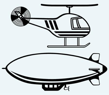 luftschiff: Hubschrauber und Luftschiff auf blauem Hintergrund isoliert Illustration