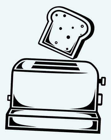 toaster: Toast popping out of a toaster  Image isolated on blue background