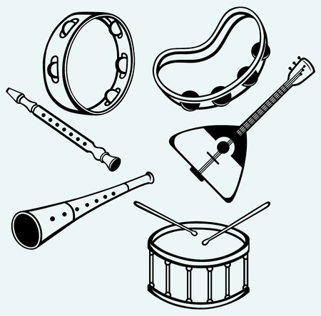 fiddlestick: Different music instruments isolated on blue background