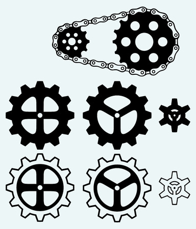 Chain gears and set cogs isolated on blue background Vector