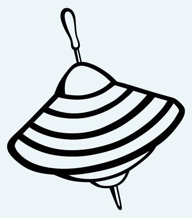 Immagine Whirligig isolato su sfondo blu Vettoriali