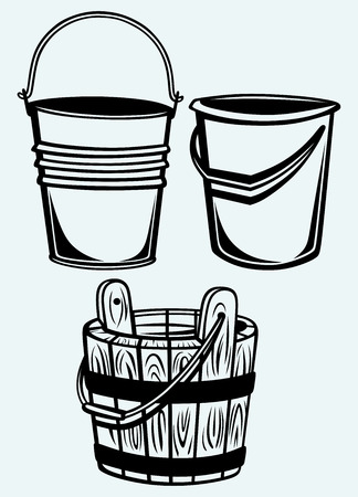 rural wooden bucket: Set of buckets  Image isolated on blue background