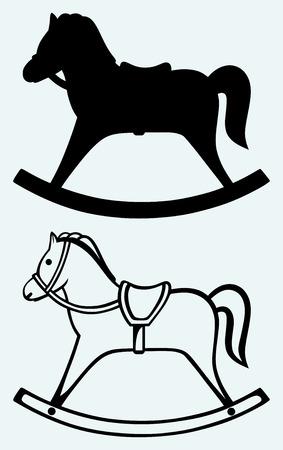 old horse: Wooden rocking horse  Image isolated on blue background