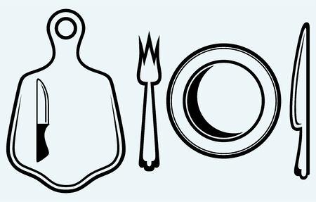 cookware: Cuchillo de a bordo y los utensilios de cocina de imagen de corte aislado en fondo azul Vectores