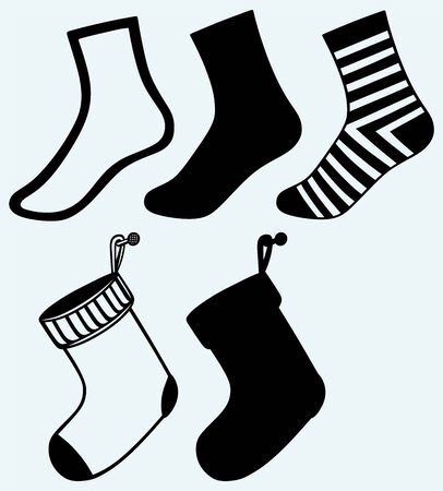 Socks and hristmas stocking  Image isolated on blue background Vector