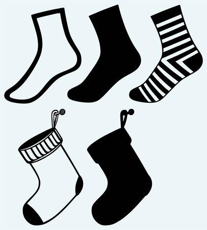 hosiery: Socks and hristmas stocking  Image isolated on blue background