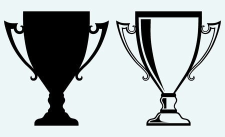 Award trophies  Image isolated on blue background Illustration